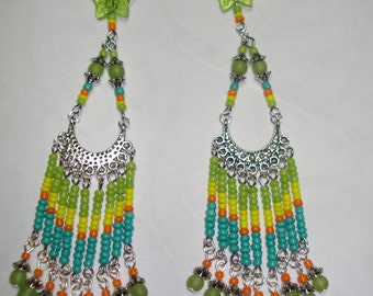 Colorful, Spring & Summertime, Extra Long Chandelier Earrings