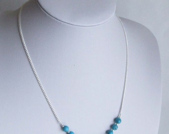 Faux Turquoise and Sterling Silver Necklace