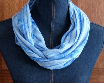 SALE! Blue & Sheer White Striped Knit Infinity Scarf/ Lightweight Long Circle Loop Scarf/ Scarves and Wraps