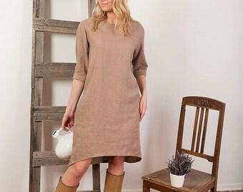 Linen Dress, Oversized Linen dress, Loose long sleeve dress, womens tunic, plus size dress, linen dresses for woman