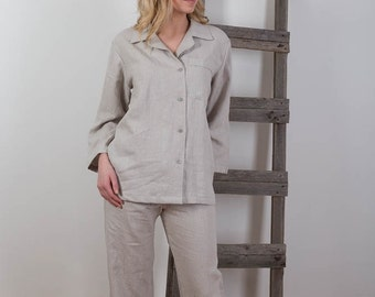Womens Linen Pants and Shirt ,Pyjamas ,Womens Linen Beachwear,Light Gray Linen Pyjamas, Homewear, Linen Leisure wear / Handmade  Custom