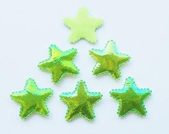 100 Pcs -  25 mm Shiny Green Fabric Stars Padded Appliques Embellishment Decorations - ERW.35