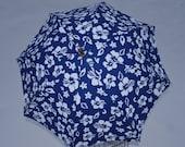 Custom Blue and White Hibiscus Umbrella