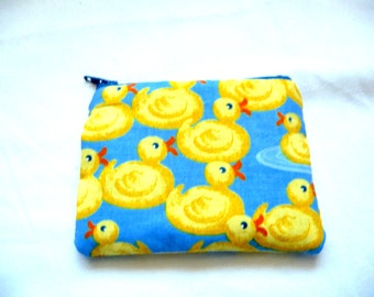 coin purse made from yellow duck fabric