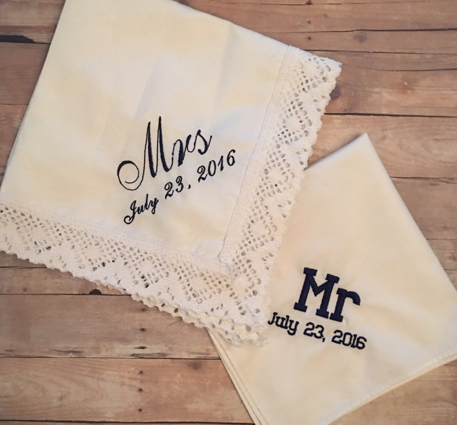 Mr. And Mrs. Wedding Handkerchief Set. Womans Can Be Made With
