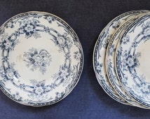 Antique Dessert Plates, Sarreguemines, French Transferware, Dinnerware, Vintage Small Plates, Blue Navy Ironstone, French Country, 1800s