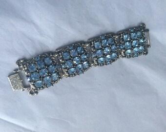 Huge Selro light sapphire silver tone bracelet - signed