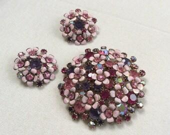 Weiss flower brooch and earrings - lovely