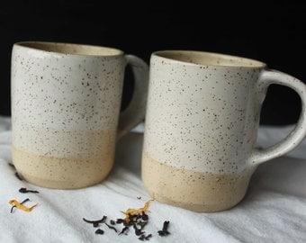 2 HANDMADE White rimmed stoneware ceramic mugs - Homestead series.