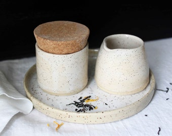 HANDMADE White glazed stoneware ceramic cream and sugar set.