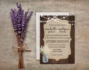 "Wedding Invitation, Rustic, Mason Jar, Baby's Breath, PRINTABLE-  5x7"" Invitations- Digital Files"