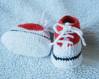 """Very cure waldorf doll sports shoes, Hand crochet shoes for waldorf doll, 9cm/3,5"""" red-white doll shoes"""