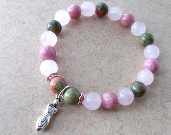 Rose Quartz Fertility Bracelet, Healing Fertility Jewelry, Fertility Goddess Bracelet, Healing Stones for Fertility, Unakite, Rhodonite