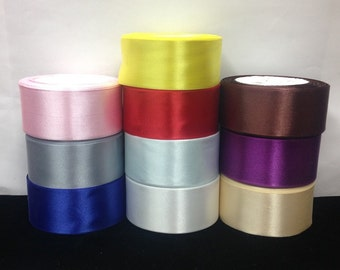 """1 1/2"""" wide Single Side Satin Ribbon 10 Colors.15 yards/roll.Selling Per Roll"""