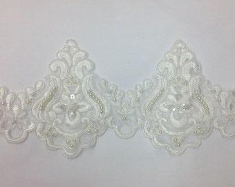 pearl beaded lace trim, bridal alencon lace, sequined lace trim for bridal veil, bridal dress