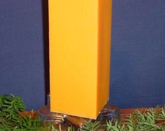 "3"" orange square pillar candle, homemade"