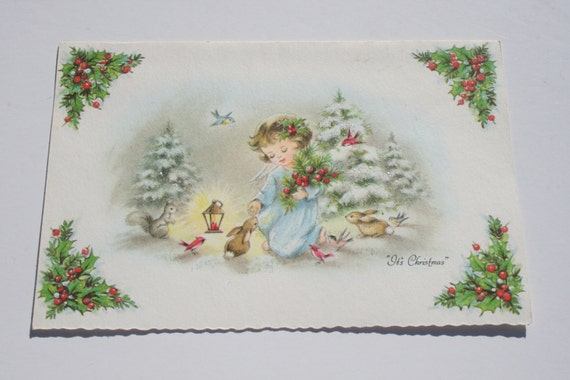 Vintage Glitter Angel Christmas Card Cute Angel With Bunnnies And Birds Used Old Christmas Card Scrapbooking