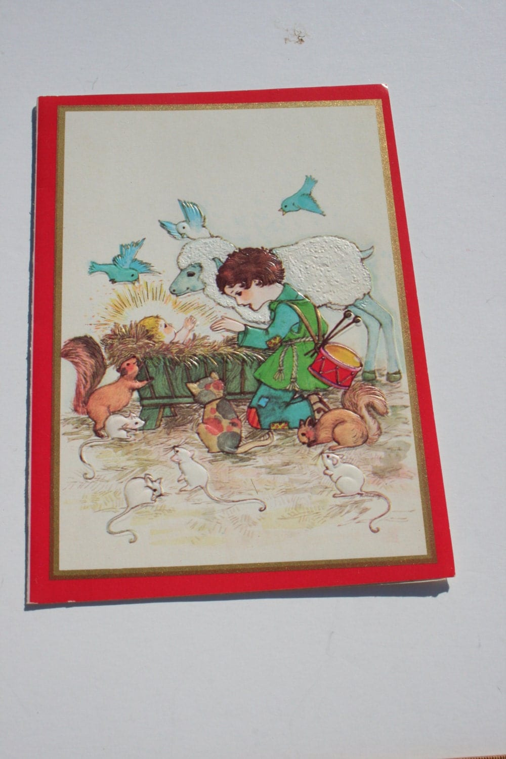 Vintage Nativity Christmas Card Cute Religious Used Scrapbooking Crafts Cards