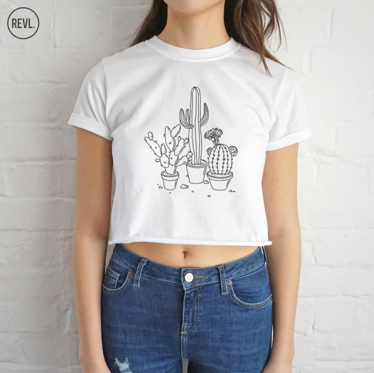 cactus drawing crop top t shirt shirt tee cropped fashion. Black Bedroom Furniture Sets. Home Design Ideas