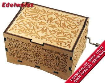"Jewelry Music Box, ""Edelweiss"", Laser Engraved Wood Hand Crank Storage Music Box"