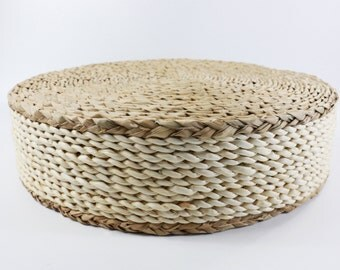 Round Straw Floor Pillows : White round rustic floor cushion/ Floor by GrasShanghai on Etsy