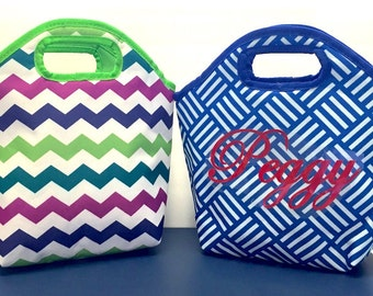LUNCH TOTE, Insulated bag, zipper close, lunch sack, snack bag, bag, lunch tote, personalized, initials, name