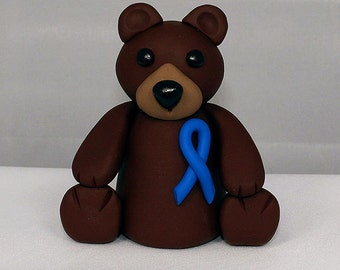 Polymer Clay Bear Sculpture - Child Abuse Awareness sculpture - Bear Figurine -Clay Bear Sculpture -Bear Sculpture - Awareness Figure -1-028