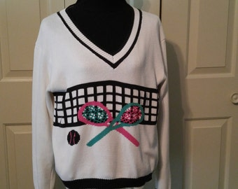 Tennis sweater, tennis racquets, colorful sweater, tennis chic, tennis theme, tennis top, tennis pullover