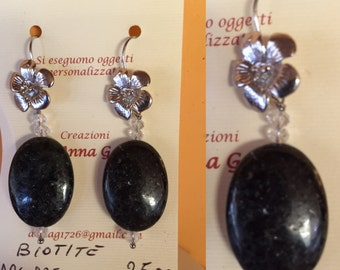 Earrings made of biotite