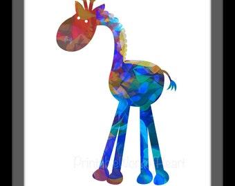 Giraffe Nursery Print,#baby,#Infant,#PrintableArt,#NurseryArt,#DIYPrints,#ColorfulAnimalArt,#Noah'sArkAnimal,#Africa,#Blue,#Red,#Bright,