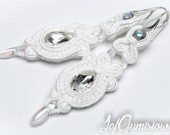Soutache earrings. White soutache. Bridal earrings. Wedding earrings. Long soutache earrings. Braid earrings.