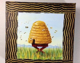 Bee Skep 5x5 in. Original Acrylic Painting on Deep Canvas