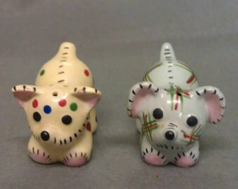 Yellow and Blue with Dots  and Designs Mice Salt and Pepper Shaker Set