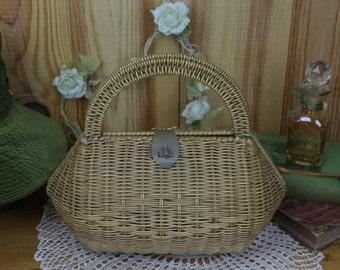 Vintage Wicker Box Bag
