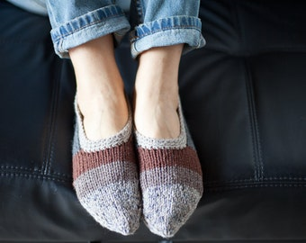 Handknitted striped slippers / Handmade slippers / Wool socks for women (hs-0008)