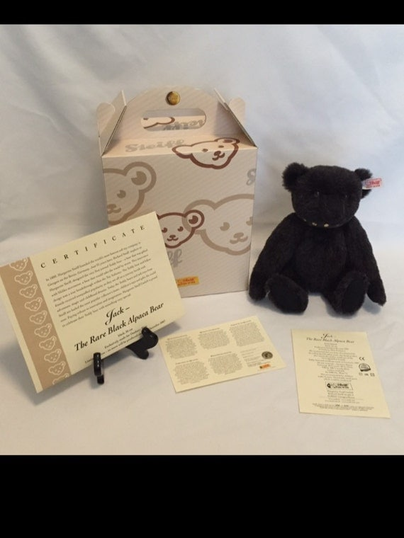 "Free Shipping-10"" Standing-Steiff-Jack The Rare Black Alpaca Bear-Jointed-Made Germany-Teddy Bear-#662546-IOB-COA-Limited Edition"