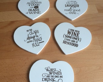 Heart shaped engraved wine coasters
