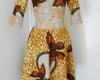 SAMPLE SALE - 40% OFF - Gold and Black Butterfly Ankara Two Piece Dress, Long African Dress, Long Skirt and Cropped Top – One of a kind