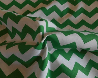 Green Chevron cotton fabric by the yard