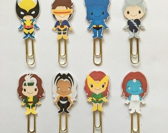 Superhero XMen Double Sided Planner Clip - Wolverine Rogue Superhero Bookmark - Made to Order