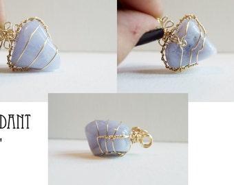 Blue Storm Agate Pendant