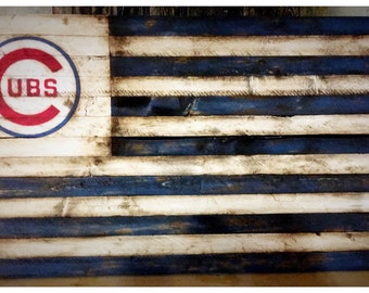 Chicago Cubs Flag, Chicago Cubs Banner, Chicago Cubs Sign, Wood Cubs Flag, Vintage Cubs, Retro Cubs Flag