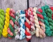 Christmas - Mini Skeins set , Sock yarn Minis, 12 mini skeins, 5 Grams each- Ready to Ship