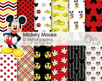 "Mickey Mouse digital paper pack, instant download, 12"" x 12"""