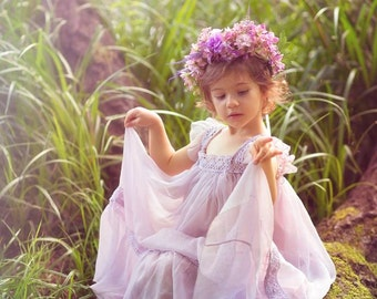 Vintage, romantic lilac dress for girls, photo session