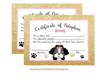 Puppy Adoption Certificates - Certificate of adoption - Instant Download - Adopt A Puppy -  Puppy Birthday - Puppy Party