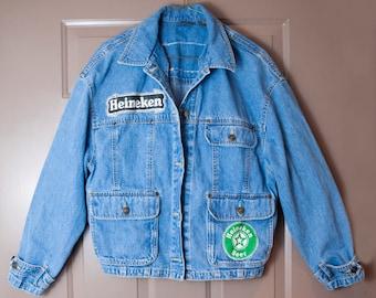 SALE * Vintage Heineken Beer Denim Jacket * SALE- Vintage Jean Jacket, Vintage Denim Jacket, 90s Jean Jacket, Heineken Jacket, Patches, 90s