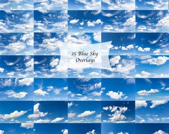 Sky overlays, digital cloudy blue sky overlays, sky replacements