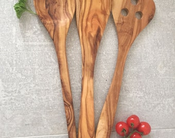 Olive Wood Spoon, Hand Carved Spoon, Olive Wood Set, Kitchen set, Olive Wood Spatula, Hand Carved Spatula, Gift, Wedding, Natural Wood.