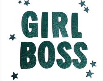 Girl Boss Banner / Letter Banner / Word Banner / Garland / Glitter / Metallic / Feminist / Cute / Gift / Present